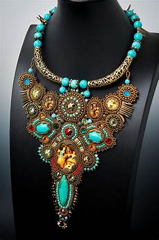 Different Bead Necklace Designs Beautiful Bead Embroidered Jewelry By Guzialia Reed