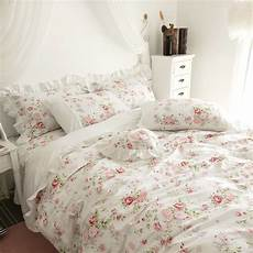 100 cotton white pink floral princess bedding set