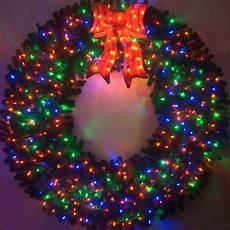 Outdoor Christmas Wreaths With Led Lights 6 Foot Color Changing L E D Prelit Christmas Wreath