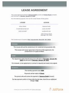 Condo Lease Template Condo Lease Agreement Pdf Templates Jotform