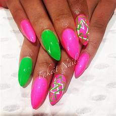 Light Pink And Green Nails Pink Amp Green Acrylic Nails With Bright Hand Painted Design