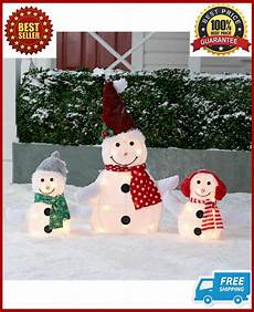 Lighted Snowman Family Set Of 3 Christmas Pre Lit Snowman Family Set Outdoor Lighted Yard