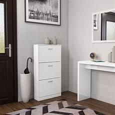 white matte modern 3 drawer shoe storage cabinet cupboard