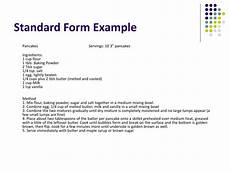 Standard Form Recipe Ppt Measuring Techniques Amp Recipe Formats Powerpoint