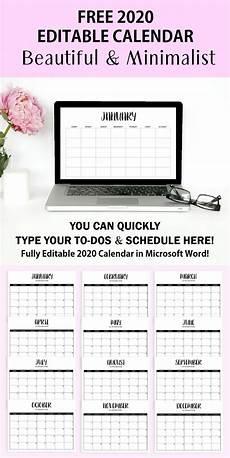 Calendar 2020 Ms Word Free Fully Editable 2020 Calendar Template In Word Free