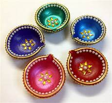 Designer Diyas Designer Hand Painted Diwali Diyas Set Of 5 Online Shopping