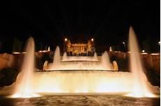 Barcelona Night Light Show Night View Of Magic Fountain Light Show In Barcelona