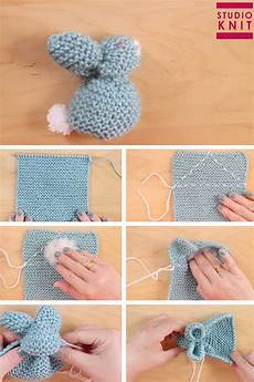 how to knit a bunny from a square with tutorial