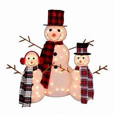 Lighted Snowman Family Set Of 3 Northlight Set Of 3 Lighted Tinsel Snowman Family