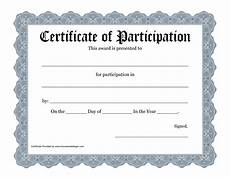 Free Printable Participation Certificates Free Printable Award Certificate Template Bing