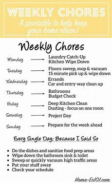 House Chores Schedule Weekly Chore Schedule Home Ec 101