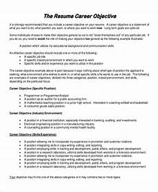 Objectives Resume Samples Free 6 Sample Resume Objective Templates In Ms Word Pdf