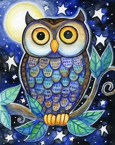 Colorful Owl Art Night Owl 8x10 Colorful Owl Moon Star Print