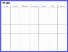 Free Blank Calendar Pages Blank Calendar Printable My Calendar Land