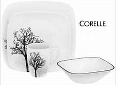 CORELLE Square TIMBER SHADOWS 24 pc DINNERWARE SET *Black