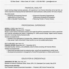 Graduate Internship Resume What Should A Sample Finance Intern Resume Look Like