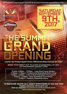 New Church Opening Flyer Gym Grand Opening Summit Center New Prospect Baptist