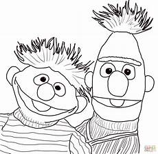bert and ernie portrait coloring page free printable