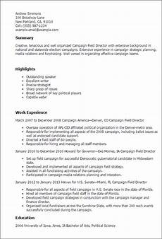 Political Resume Examples 1 Campaign Field Director Resume Templates Try Them Now
