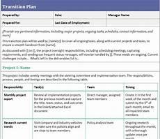 Job Transition Template Transition Plan Template For When You Ve Resigned