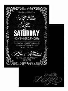All White Party Invitations Templates All White Affair Birthday Invitation Party Invite