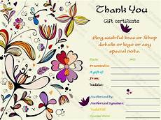 thank you template for gift card special thank you gift certificate template