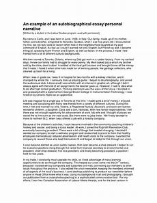 College Autobiographical Essay Example An Example Of An Autobiographical Essay Personal Narrative