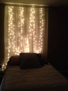 How To Make A String Light Curtain Diy String Light Curtain Headboard