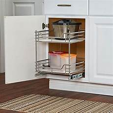 chrome two tier sliding cabinet organizer in pull out baskets
