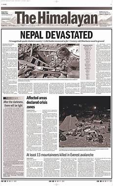 The Himalayan Times Article Nepal Earthquake How Dailies Around The World Covered The