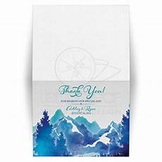 Watercolor Wedding Cards Mountain Wedding Thank You Card Watercolor Royal Blue