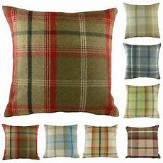luxury highland mist tartan check cushion covers 16 quot x 16