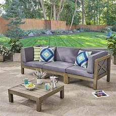 noble house hadlee gray 4 wood outdoor sofa set with