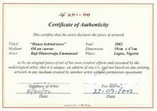Authentication Certificate Format Certificate Of Authenticity Sample Authenticiteit