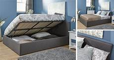 grey side lift ottoman storage bed quality fabric gas lift