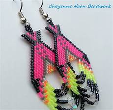 american beaded earrings tipis neon pink and black