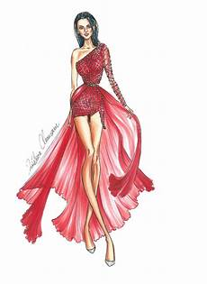 model fashion illustration pencil and in color