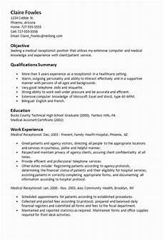 Cv For Medical Receptionist 23 Medical Receptionist Resume Example In 2020 Medical