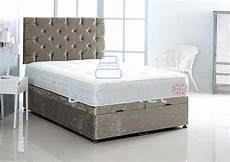 silver crushed velvet ottoman divan bed with headboard