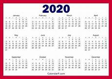 online printable calendar 2020 printable free 2020 calendar horizontal red calendarp