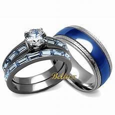 his hers blue wedding rings set women s 3 24 ct rings