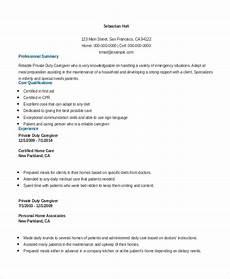 Caregiver Sample Resume Free 7 Sample Caregiver Resume Templates In Ms Word Pdf