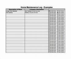 Maintenance Log Template Free Free 9 Sample Maintenance Log Templates In Pdf
