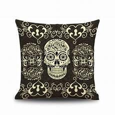 quot los muertos quot black linen throw cushion cover skull