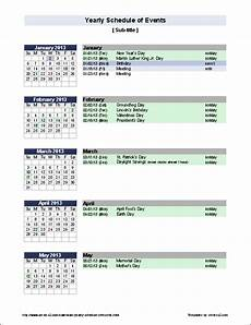 Calendar Of Events Template Word Yearly Schedule Of Events Template Event Calendar