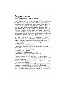 Essay About Great Depression Depression Research Paper Outline Docx Depression