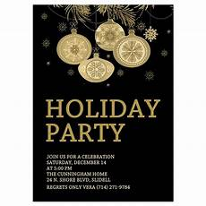 Annual Holiday Party Invitation Template Christmas Party Invitations Gold Ornaments Design