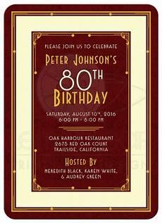 80th Birthday Invitation Man S 80th Birthday Invitation Maroon Gold Art Deco