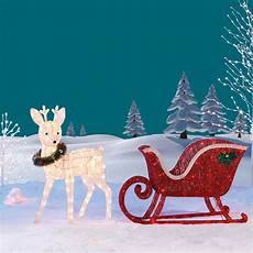 Lighted Santa Sleigh And Reindeer Outdoor Reindeer Amp Sleigh 260 Led Lights Indoor Outdoor Garden