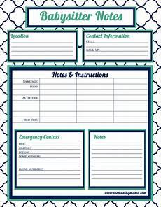 Babysitter Notes Template Babysitting Checklist Authorization Letter Pdf